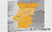 Political Shades Panoramic Map of Portugal, desaturated