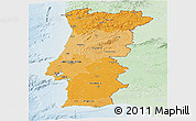 Political Shades Panoramic Map of Portugal, lighten