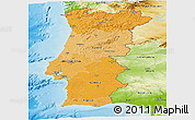 Political Shades Panoramic Map of Portugal, physical outside