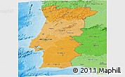 Political Shades Panoramic Map of Portugal