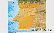Political Shades Panoramic Map of Portugal, satellite outside, bathymetry sea
