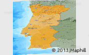 Political Shades Panoramic Map of Portugal, semi-desaturated, land only