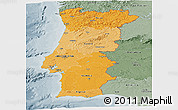 Political Shades Panoramic Map of Portugal, semi-desaturated