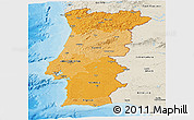 Political Shades Panoramic Map of Portugal, shaded relief outside, bathymetry sea