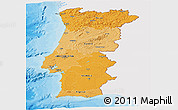 Political Shades Panoramic Map of Portugal, single color outside