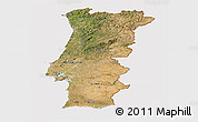 Satellite Panoramic Map of Portugal, cropped outside