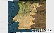 Satellite Panoramic Map of Portugal, darken