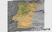 Satellite Panoramic Map of Portugal, desaturated