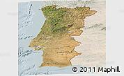 Satellite Panoramic Map of Portugal, lighten
