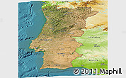 Satellite Panoramic Map of Portugal, physical outside, satellite sea