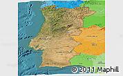 Satellite Panoramic Map of Portugal, political outside, satellite sea