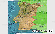 Satellite Panoramic Map of Portugal, political shades outside, satellite sea