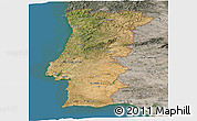 Satellite Panoramic Map of Portugal, semi-desaturated, land only