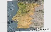 Satellite Panoramic Map of Portugal, semi-desaturated