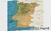 Satellite Panoramic Map of Portugal, shaded relief outside, satellite sea
