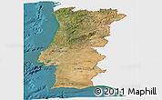 Satellite Panoramic Map of Portugal, single color outside