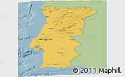 Savanna Style Panoramic Map of Portugal, single color outside