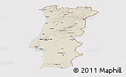 Shaded Relief Panoramic Map of Portugal, cropped outside