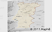 Shaded Relief Panoramic Map of Portugal, desaturated