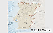 Shaded Relief Panoramic Map of Portugal, lighten