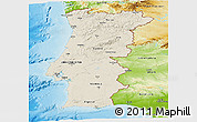 Shaded Relief Panoramic Map of Portugal, physical outside