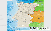 Shaded Relief Panoramic Map of Portugal, political outside, shaded relief sea
