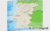 Shaded Relief Panoramic Map of Portugal, political shades outside, shaded relief sea