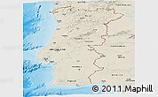 Shaded Relief Panoramic Map of Portugal