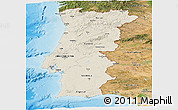 Shaded Relief Panoramic Map of Portugal, satellite outside, shaded relief sea