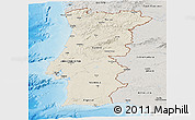 Shaded Relief Panoramic Map of Portugal, semi-desaturated, land only