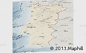 Shaded Relief Panoramic Map of Portugal, semi-desaturated