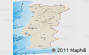 Shaded Relief Panoramic Map of Portugal, single color outside