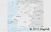 Silver Style Panoramic Map of Portugal