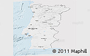 Silver Style Panoramic Map of Portugal, single color outside
