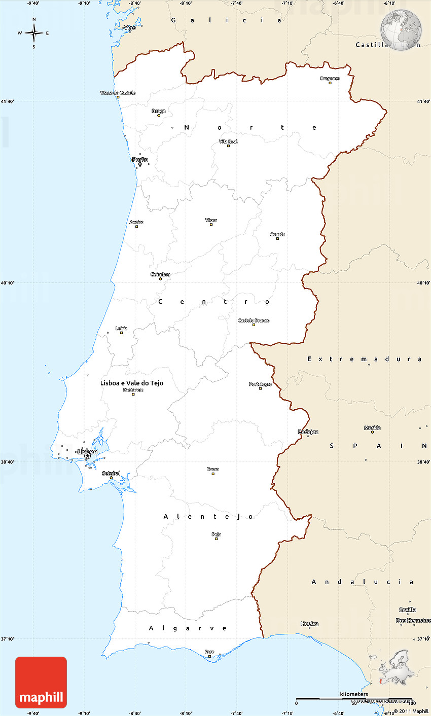 Classic Style Simple Map Of Portugal - Portugal map south