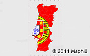 Flag Simple Map of Portugal, flag centered