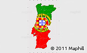 Flag Simple Map of Portugal, flag aligned to the middle