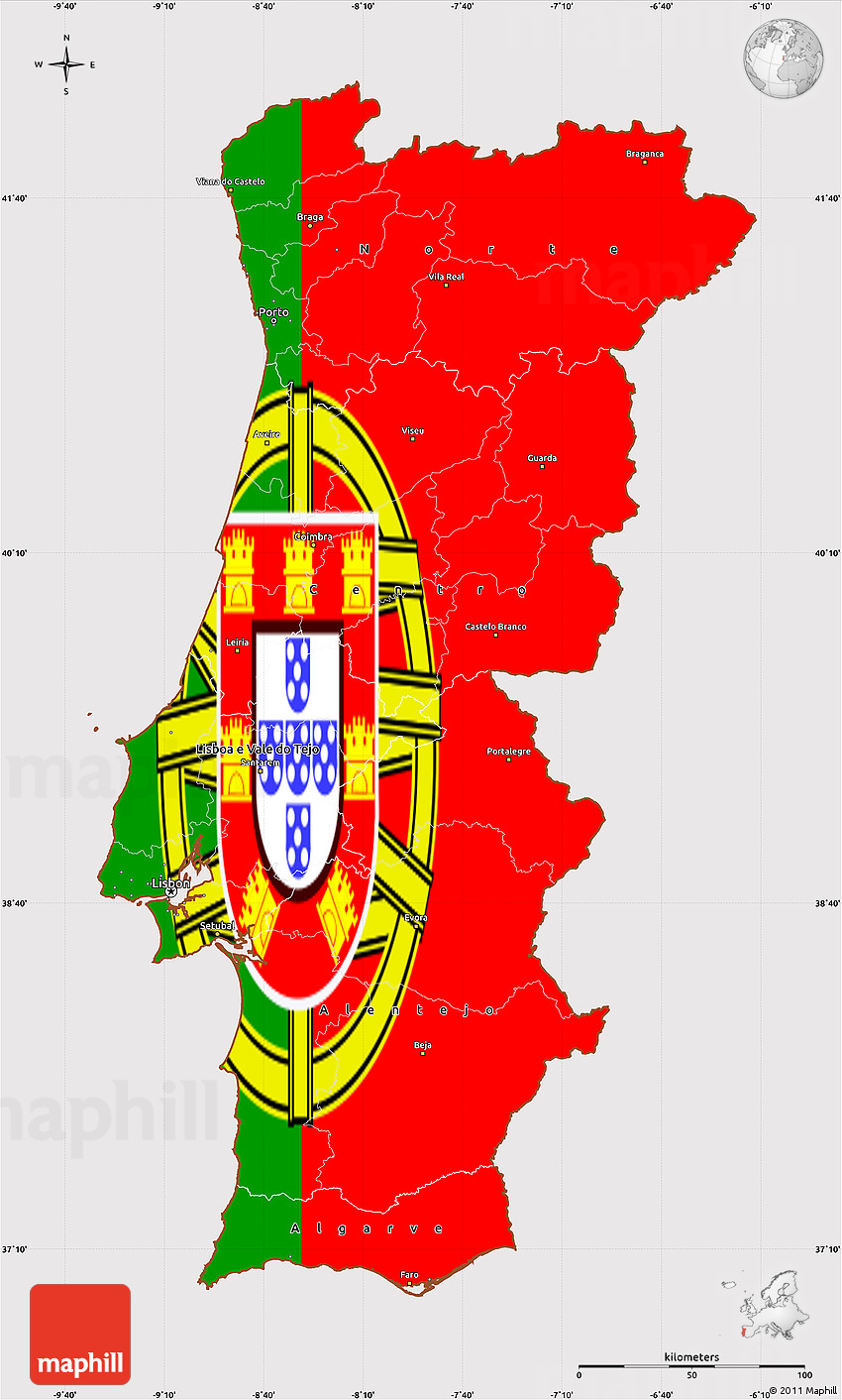 Flag Simple Map Of Portugal - Portugal map outline