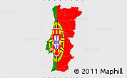 Flag Simple Map of Portugal