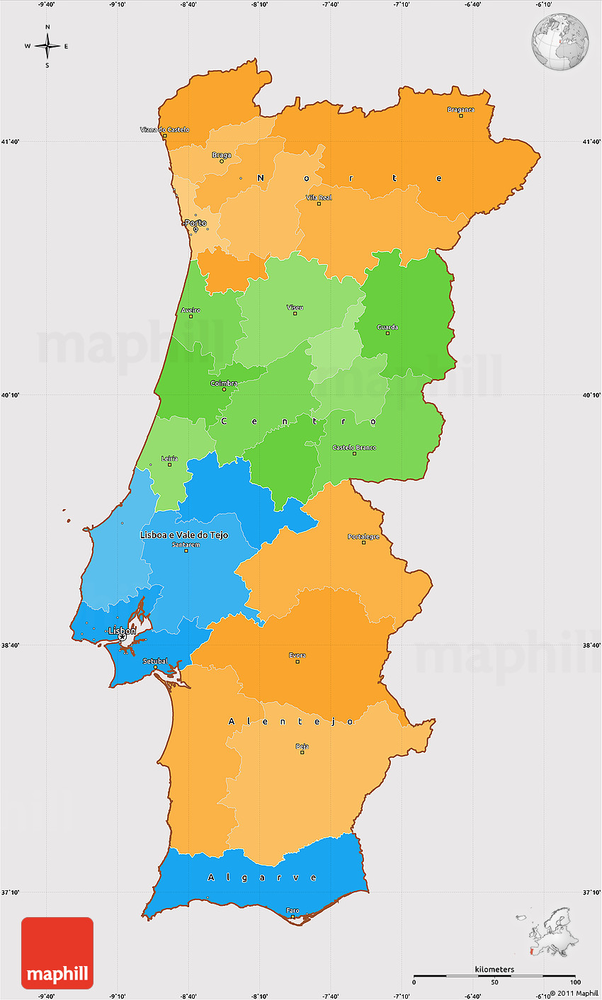 Political Simple Map Of Portugal Cropped Outside - Map of portugal
