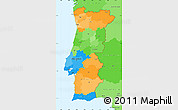 Political Simple Map of Portugal, political shades outside