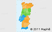Political Simple Map of Portugal, single color outside