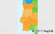 Political Shades Simple Map of Portugal, political outside