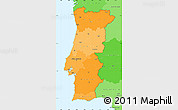 Political Shades Simple Map of Portugal