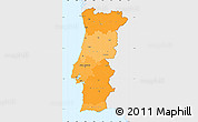 Political Shades Simple Map of Portugal, single color outside