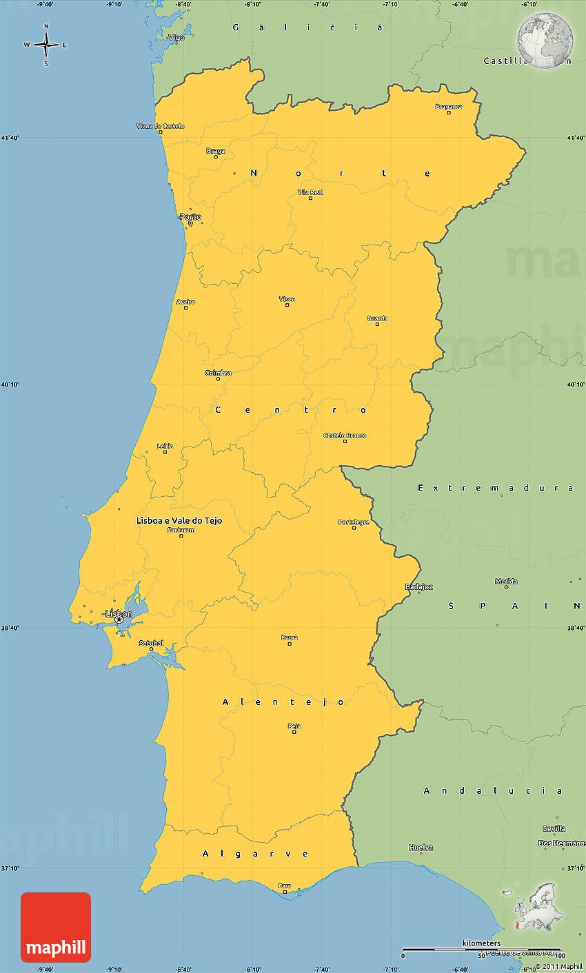 Savanna Style Simple Map Of Portugal - Portugal map longitude