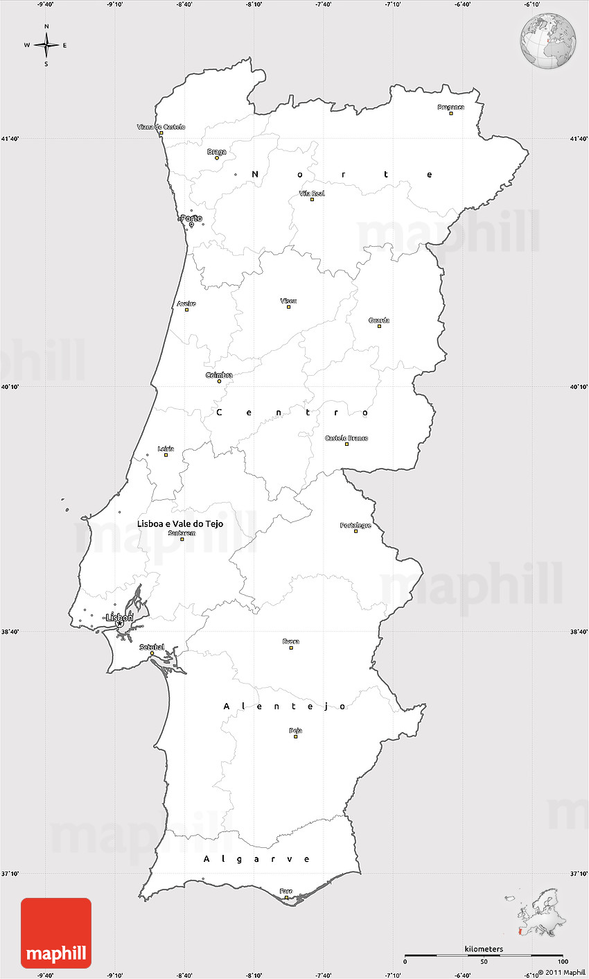 Silver Style Simple Map Of Portugal Cropped Outside - Portugal map black and white