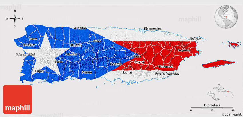 image relating to Printable Puerto Rican Flag named Flag 3D Map of Puerto Rico, flag based mostly