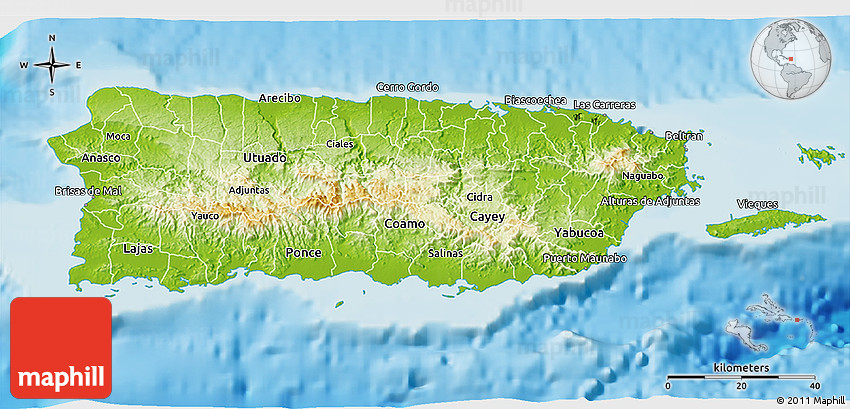 Physical 3d Map Of Puerto Rico