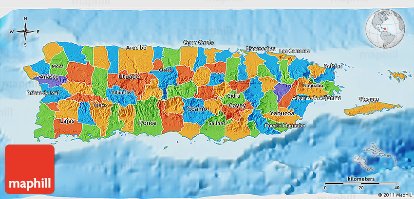 Political D Map Of Puerto Rico Physical Outside - Political map of puerto rico